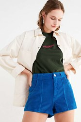 Urban Outfitters Uo High Rise Corduroy Short Blue