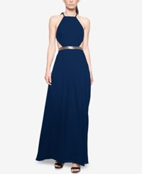 Fame And Partners Backless Halter Dress Navy
