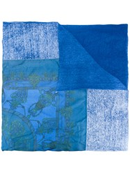 Avant Toi Printed Scarf Women Silk Linen Flax One Size Blue