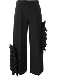 Msgm Ruffle Detail Trousers Black