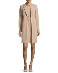 Albert Nipon Jacket And Belted Sheath Dress Set Camel