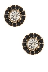 Spring Street Beaded Halo Round Cz Stud Earrings Black