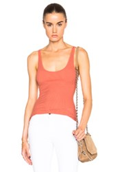 Enza Costa Rib Baseball Tank Top In Orange