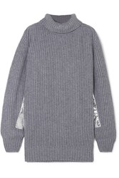 Hillier Bartley Metallic Trimmed Ribbed Cashmere Turtleneck Sweater Gray