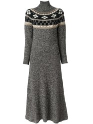 Jean Paul Gaultier Vintage Fair Isle Knit Maxi Dress Grey
