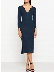 Jigsaw Silk Tencel Fitted Knitted Dress Petrol Blue