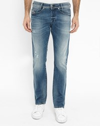 Diesel Faded Light Blue Akee Used Regular Tapered Slim Fit Jeans
