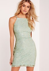 Missguided Lace Square Neck Bodycon Dress Green Green
