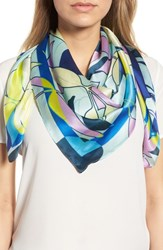 Halogen Print Silk Scarf Blue Pop Art Floral
