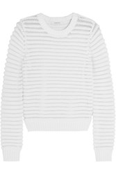 Carven Chenille Knit Cotton Blend Sweater White