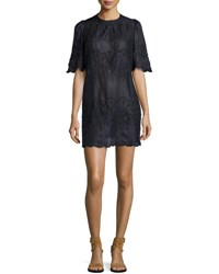 Isabel Marant Embroidered Short Sleeve Voile Dress Yellow