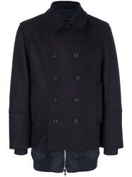 Diesel Black Gold Jiber Double Breasted Coat Men Nylon Polyester Viscose Virgin Wool 52 Blue