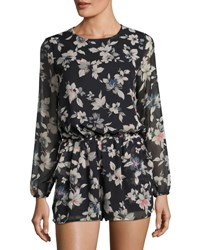 Lucca Couture Theresa Floral Long Sleeve Romper Black Pattern