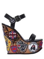 Dsquared 150Mm Hackney Leather Wedge Sandals