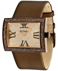 Le Vian Time Diamond Unisex Brown Leather Strap Watch 4 1 2 Ct. T.W. 43Mm Zag139a