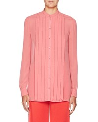 Valentino Long Sleeve Stitched Georgette Blouse Pink Red