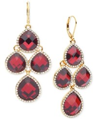 Anne Klein Gold Tone Crystal Chandelier Earrings Red