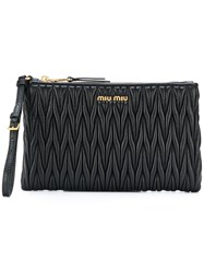 Miu Miu Matelasse Beauty Case Leather Black