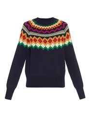 Stella Jean Scottsdale Instarsia Knit Wool Sweater