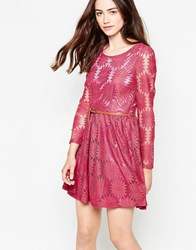 Mela Loves London Belted Floral Lace Dress With Long Sleeves Pink