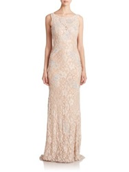 Jovani Sequined Lace Gown Champagne