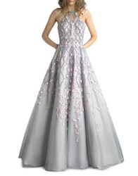 Basix Ii Floral Floor Length Gown Silver