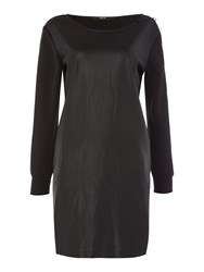 Replay Fleece And Faux Leather Dress Black
