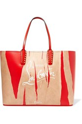 Christian Louboutin Cabata Kraft Studded Printed Leather Tote Red