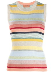 Missoni Striped Metallic Knitted Top Blue
