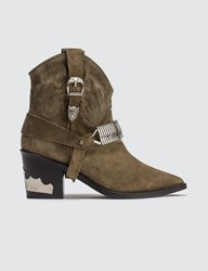 Toga Pulla Western Harness Suede Boots Brown