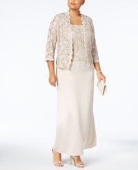Alex Evenings Plus Size Sequin Lace Gown And Jacket Taupe