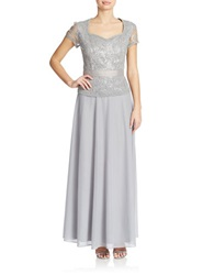 Cachet Sequined Lace Bodice Gown Grey