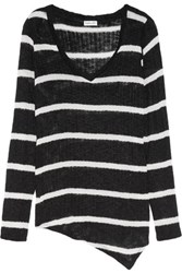 Splendid Asymmetric Striped Open Knit Sweater Black