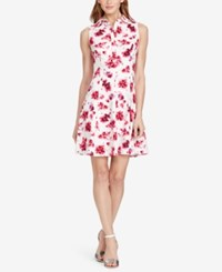 American Living Floral Print Sateen Dress White Pink