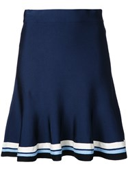 Victoria Beckham Striped Hem Flared Skirt Blue