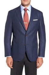 David Donahue Men's Big And Tall Aiden Classic Fit Check Wool And Cashmere Sport Coat Medium Blue