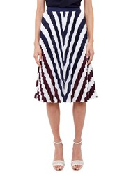 Ted Baker Alliee Rowing Stripe Pleated Midi Skirt Navy