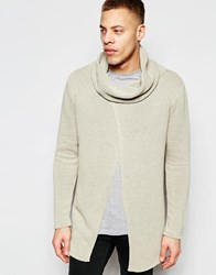 Asos Sweater With Cowl Neck And Wrap Front Putty