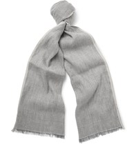 Loro Piana Contrast Tipped Linen And Baby Cashmere Blend Scarf Light Gray