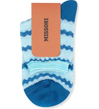 Missoni Short Wavy Striped Socks Blue 003