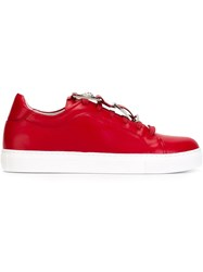 Versus Lion Stud Buckle Sneakers Red