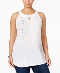 Inc International Concepts Plus Size Embroidered Halter Top Only At Macy's Bright White