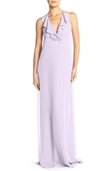 Women's Nouvelle Amsale 'Daryl' Ruffle Neck Chiffon Halter Gown Lavender