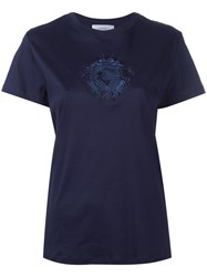 Carven Embroidered Motif T Shirt Blue