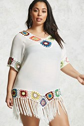 Forever 21 Plus Size Crochet Trim Tee Cream Multi