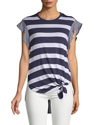 Candc California Striped Hi Lo Short Sleeve Top Navy Multi