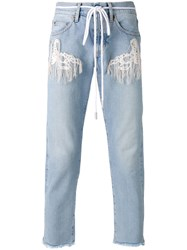Off White Rope Belt Jeans Blue