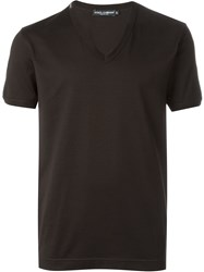 Dolce And Gabbana V Neck T Shirt Brown