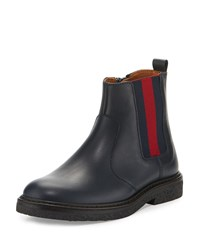 Gucci Joshua Leather Chelsea Boot Blue Youth