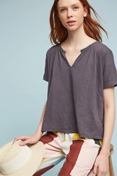 Anthropologie Loreen Tie Back Top Dark Grey